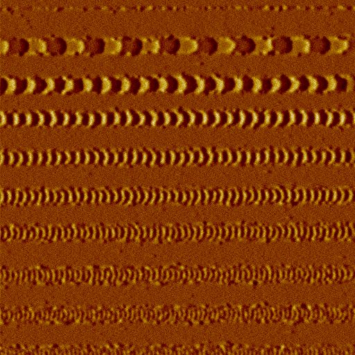 Magnetic image (phase shift) of an experimental hard disk measured with a NANOSENSORS SSS-MFMR AFM probe